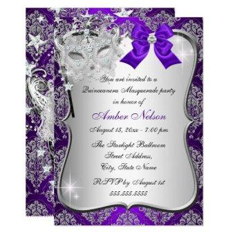 Purple Damask Mask Masquerade Invite