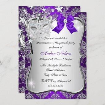 Purple Damask Mask Masquerade Invite