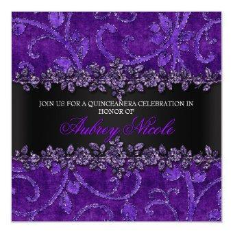 Purple Faux Glitter & Velvet Floral