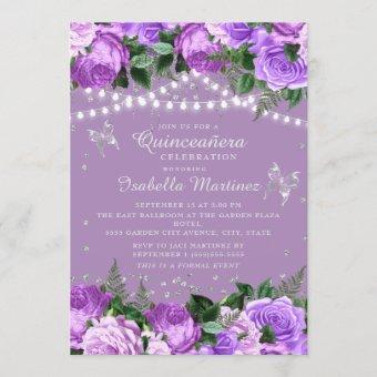 Purple Floral Silver Butterflies Quinceañera
