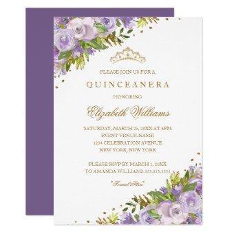 Purple Floral Watercolor Gold