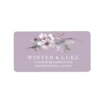 Purple Floral Watercolor Wedding Address Label
