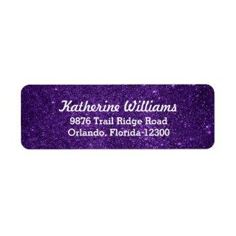 Purple Glam Faux Glitter Return Address Label