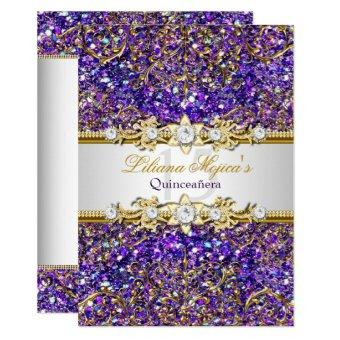 Purple Glitter & Gold Damask Invite