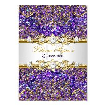 Purple Glitter & Gold Damask Quinceanera Invite