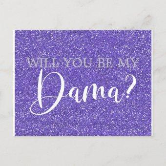 Purple Glitter Sparkle Dama Proposal Post