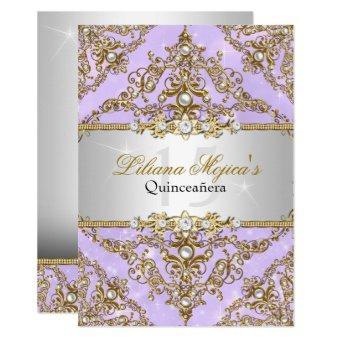 Purple & Gold Pearl Damask Invite