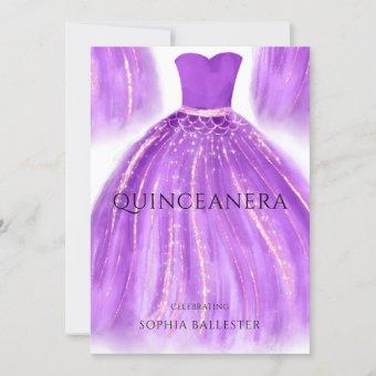 Purple & Gold Mermaid Dress Gown Party