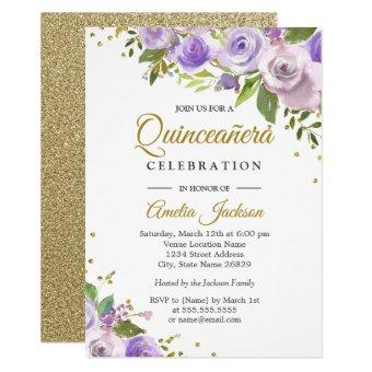 Purple Gold Sparkle Floral Invite