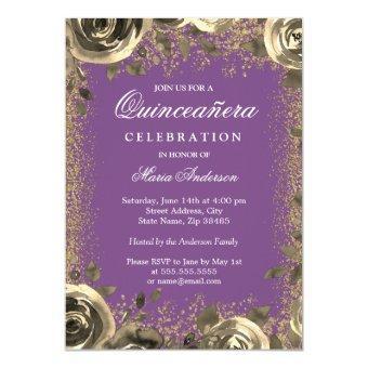Purple & Gold Sparkle Glitter Invite