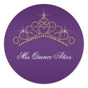 Purple Gold Tiara Sweet 15 16 Quinceana Label