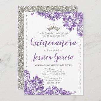 Purple Lace & Silver Glitter Princess Quinceañera