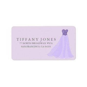 Purple Lavender Glitter Dress Gown Address Label