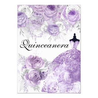 Purple Lavender Rose Dress Invite