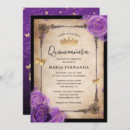 Purple Lavender Rose Gold Watercolor