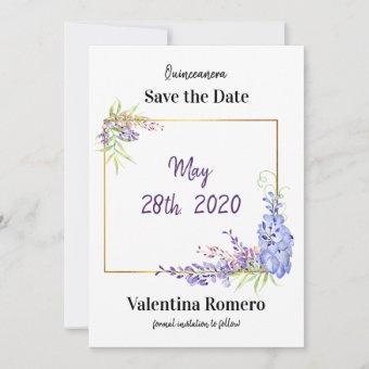 Purple Lavender Watercolor Wisteria Floral Save The Date