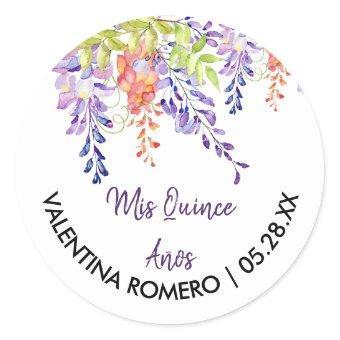 Purple Lavender Wisteria Flowers Floral Classic Round Sticker