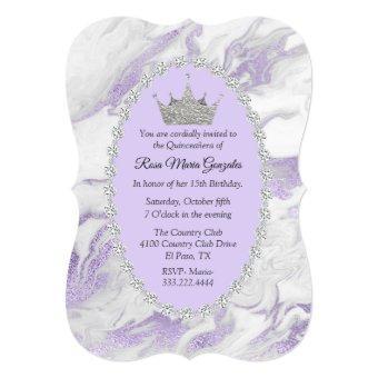 Purple Marble and Diamonds Crown Quinceañera