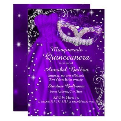 Purple Mask & Dress Masquerade Invite