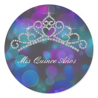 Purple Pink Teal Tiara Sweet 15 16 Quinceana Label Classic Round Sticker