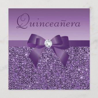 Purple Printed Sequins & Bow