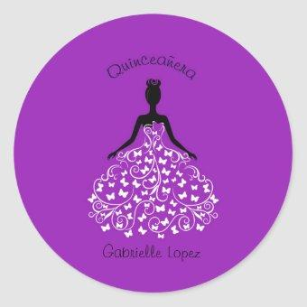 Purple Butterfly Gown Envelope Seals