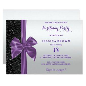 Purple Silk Bow Black Sequins 18th Birthday