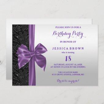 Purple Silk Bow Black Sequins 18th Birthday