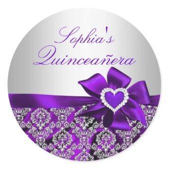 Purple & Silver Damask Sticker
