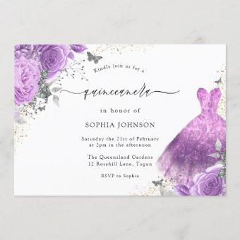 Purple & Silver Dress & Rose Butterfly