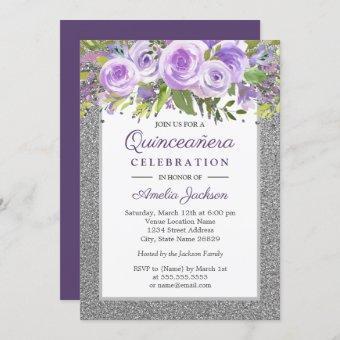 Purple Silver Floral Rose