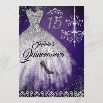 Purple Silver Sparkle Diamond Dress