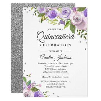 Purple Silver Sparkle Floral Invite