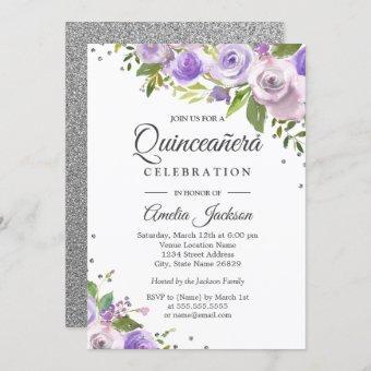 Purple Silver Sparkle Floral Invite