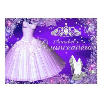 Purple Sparkle Tiara & Dress Invite