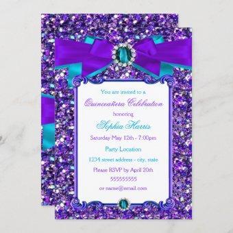 Purple Teal Blue Glitter Jewel Bow