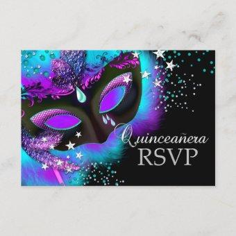 Purple & Teal Masquerade RSVP