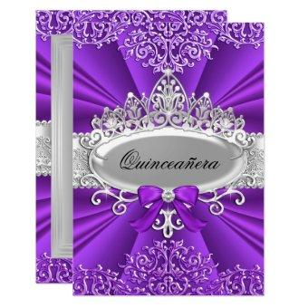 Purple Tiara & Damask Invite