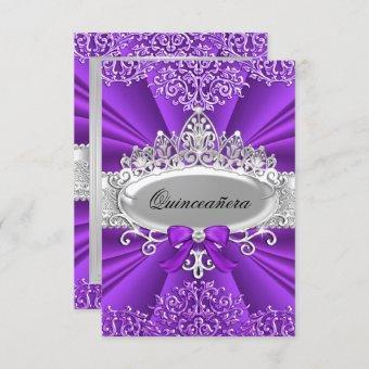 Purple Tiara & Damask Invite