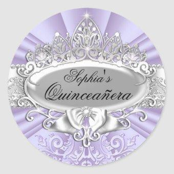 Purple Tiara & Damask Sticker