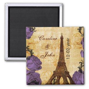 purple vintage eiffel tower Paris save the date Magnet