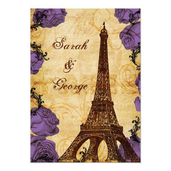 purple vintage eiffel tower Paris thank you