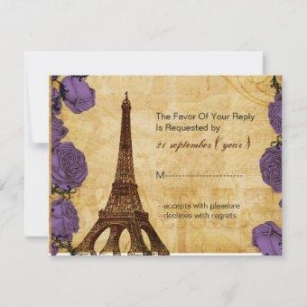 purple vintage eiffel tower Paris wedding rsvp