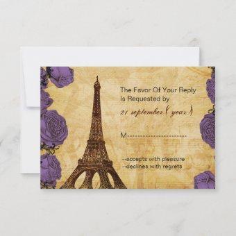 purple vintage eiffel tower wedding rsvp 3.5 x 5