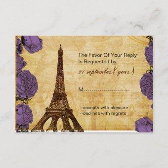 purple vintage eiffel tower wedding rsvp 3.5 x 5