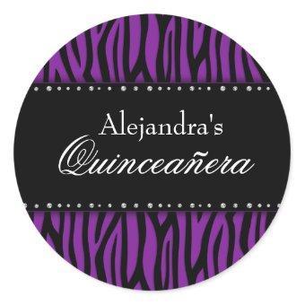 Purple Zebra Diamonds Classic Round Sticker
