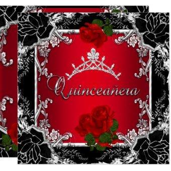 Quinceañera 15 Black Silver Tiara Red Rose Floral