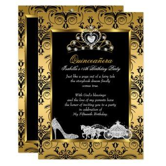 15th Birthday Black Gold Damask