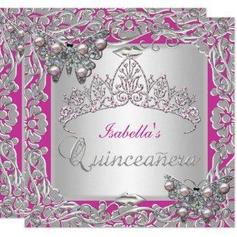 15th Birthday Butterflies Silver Pink