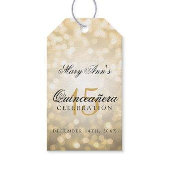 15th Birthday Gold Bokeh Lights Gift Tags